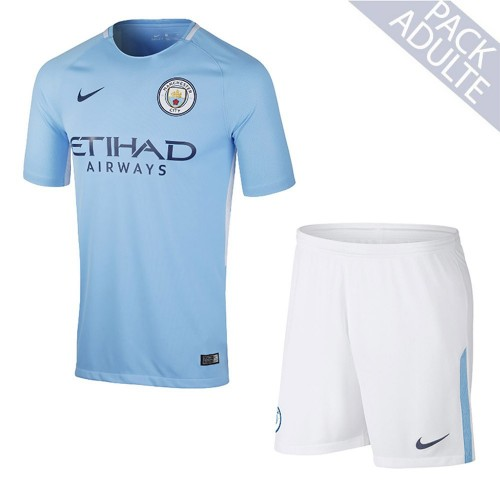 PACK MANCHESTER CITY DOMICILE. ENSEMBLE ADULTE MAILLOT ET SHORT 2017-2018