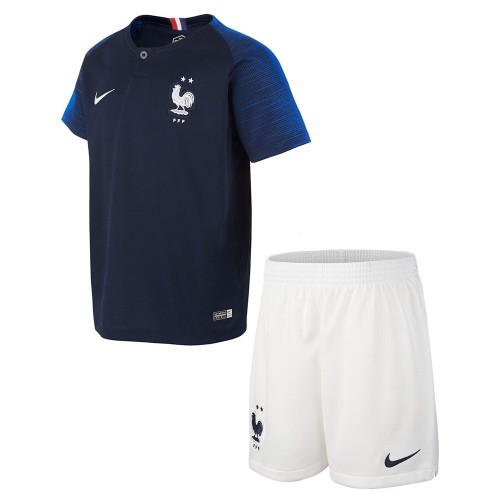 PACK JUNIOR FRANCE DOMICILE 2 ETOILES. ENSEMBLE MAILLOT ET SHORT 2018-2019