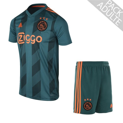 PACK AJAX AMSTERDAM EXTERIEUR. ENSEMBLE ADULTE MAILLOT ET SHORT 2019-2020