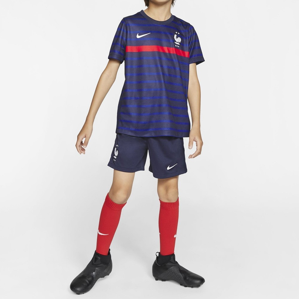 PACK JUNIOR FRANCE DOMICILE. ENSEMBLE MAILLOT ET SHORT 2020-2021